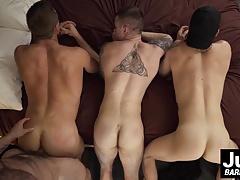 Big guy Jaxton Wheeler nailing this three sexy ass hunks