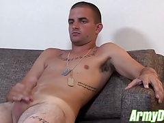 Tattoed recruit Mikey is cooking a nasty load in his balls