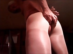Semi-hard Cock and Butt in Pantyhose