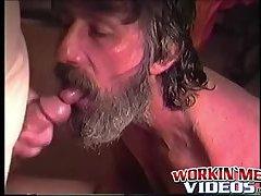Rugged and scraggly guy named Glen masturbates his big cock