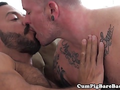 Inked stud barebacked by eager wolf