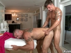 Trace Michaels gives hand to Broidie Sinclair before they make gay love