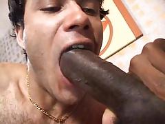 Black CD with huge cock fucks a guy