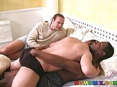 Gay black couple fucks a white guy
