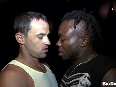 Andy and Charley have interracial gay sex in a dark room