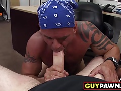 Tough biker dude sucks dick and gets banged in the ass