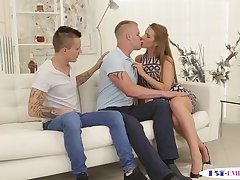 Assfucked stud getting cocksucked by beauty