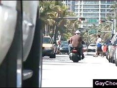 Interracial gay blowjob with black biker