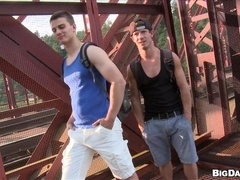 Lustful homos Ryu and Diego fuck in side-by-side position in a forest