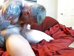 Muscle tattoo autofelation and cumshot
