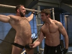 A horny poofter gets his hairy ass pounded hard in BDSM clip