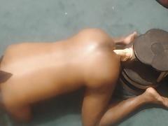 Black Booty in Cleveland Enjoying a 10 inch dildo