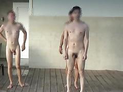 Four men at swimming pool