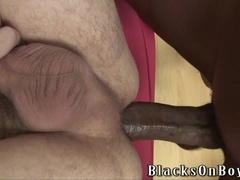 Nasty blonde queer Luke Cross gets his ass drilled by two black studs