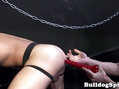 Bottom toyed in ass with huge dildo by top