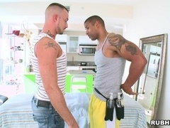Two poofters moan with pleasure while having sex in cowboy pose