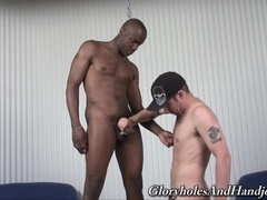 A black gay lets his buddy rub his weiner in amazing handjob scene