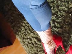 Crossdressing and masturbating in jeans leggings and heels