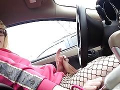 Cute Sissy Cums In The Car