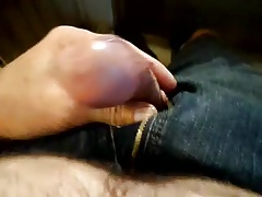 Pre cum penis play out of pants