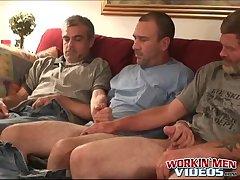 Hairy older men sucking dick and having fun in threesome