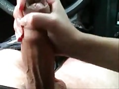 HJ on really fat uncut cock in the car