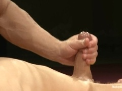 Muscular gay fucks his rival on tatami after a wrestling match