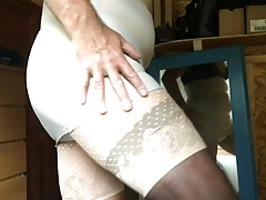 Wanking in my wife's panties and girdle