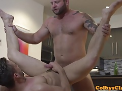 Masculine hunk drills hunk ass in the kitchen