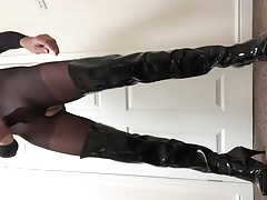 Bodystocking with cock sleeve and pvc thigh high boots