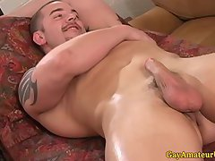Straight muscular guy gets hj at massage