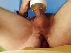 Cum with flashlight and butt plug