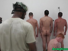 Humiliated military hunk cumcovered in shower
