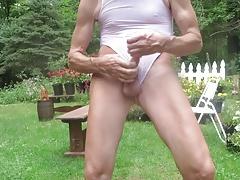 Masturbating with a leotard wedgie.