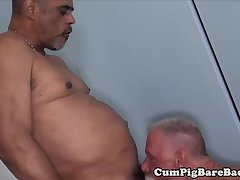 Bear barebacks tight ass before jerking cum