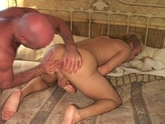 Bald gay daddy fucks some blonde fairy's tight butt