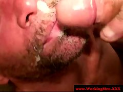Rough biker gets mouthful of cum
