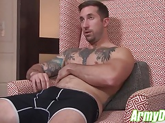 Hot tattooed hunk Brad Powers jerking his fat cock till cum