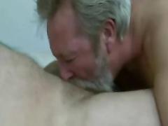 Beard daddy fellate and gobble jizz