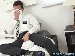 Uniform elder gulps cum
