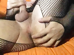 British uncut sissy strokes and cums