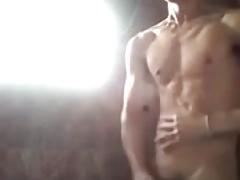 handsome asian boy cumming in shower (26'')
