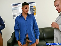 Muscled boss sucked and rimmed by employees