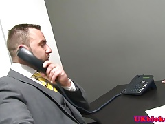 Handsome office bear fingering hunks ass