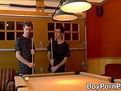 Twinks play a game of pool where loser gets fucked in ass
