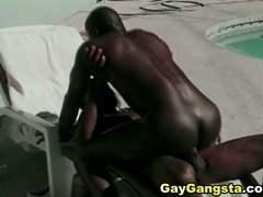 Black hunk spreads black twink's legs and fucks his ass