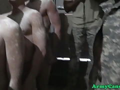 Military hunks assfuck in shower at hazing