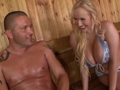 Angel Wicky Fucks With Two Guys In Sauna