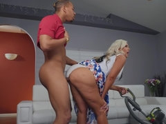Blonde cougar loves having her son's best friend over