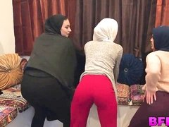 Sweet Arabian exchange college stunners share a fat fuck-stick
